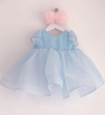 Girly Shop's Sky Blue Cute Pearl Applique Round Neckline Cap Sleeves Large Bow Back Knee - Tea Length Baby Infant Toddler Little Girl Ruffle Dress