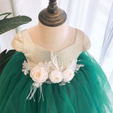 Girly Shop's Gold & dark Green Beautiful Flower Applique Sweetheart Neckline Cap Sleeves Knee - Tea Length Baby Infant Toddler Little Girl Floral Dress