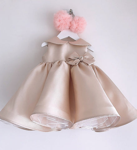 Girly Shop's Beige Beautiful Peter Pan Collar Sleeveless Bow Front Ruffle Knee - Tea Length Baby Infant Toddler Little Girl Large Bow Front Dress