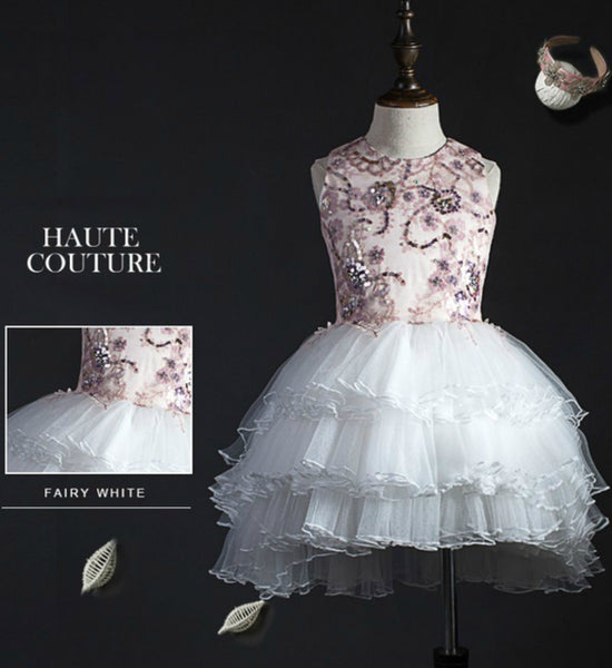 Girly Shop's White & Pink Floral Paillette Sequins Tiered Layered Flower Girl High Low Gown