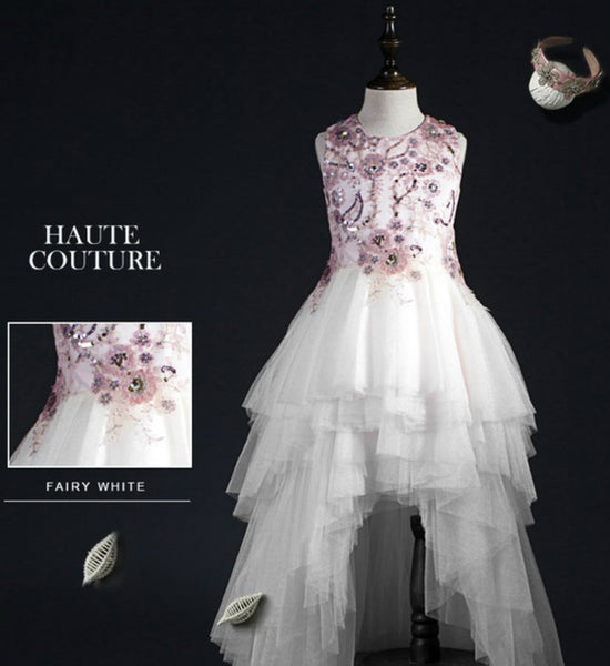Girly Shop's White & Pink Floral Paillette Sequins Tiered Layered Flower Girl High Low Trail Gown