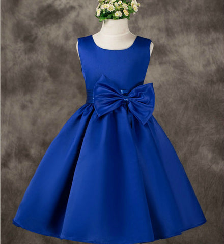 Girly Shop's Royal Blue Sleveless Sash Bow Girl Dress