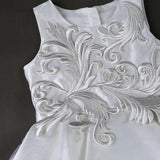 Girly Shop's White Flowers Rattan Embroidered Layered Ankle Length Junior Bridesmaid Dress