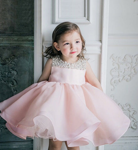 Girly Shop's Pink Beautiful Beaded Applique Round Neckline Sleeveless Knee Length Baby Infant Toddler Little & Big Girl Curly Ruffle Party Dress