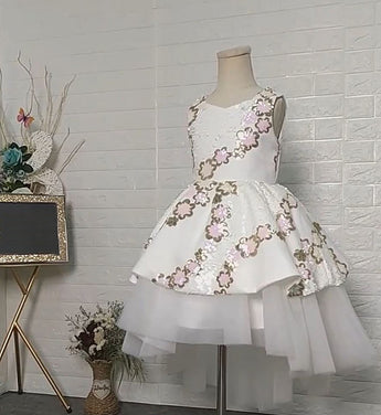 Girly Shop's White beautiful Floral Sequin Applique Square Neckline Sleeveless Toddler Little & Big Girl High Low Gown