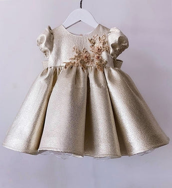 Girly Shop's Beige Gold Beautiful Floral Paillette Applique Round Neckline Cap Sleeve Ruffle Knee - Tea Length Baby Infant Toddler Little Girl Large Bow Dress