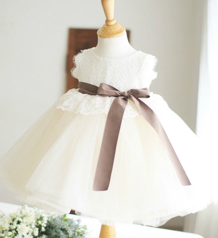 Girly Shop's Ivory Tutu Dress With Sleeveless White Lace Top & Brown Sash Belt