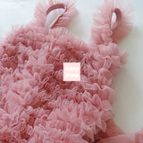 Girly Shop's Dusty Pink Cute Super Soft & Fluffy Rosette Tutu Dress