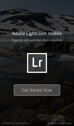 adobe lightroom for iphone photography app startup screen