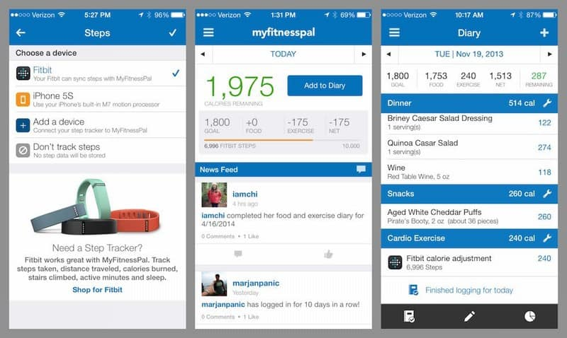 MyFitnessPal Steps screenshot work life balance