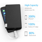 6000mAh Ultra Thin Portable Charger with Built in Cables