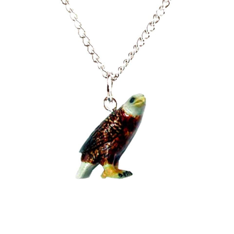 Bald Eagle Pendant - Porcelain Animal FIgurines - Little Critterz Jewelry, Little Critterz
