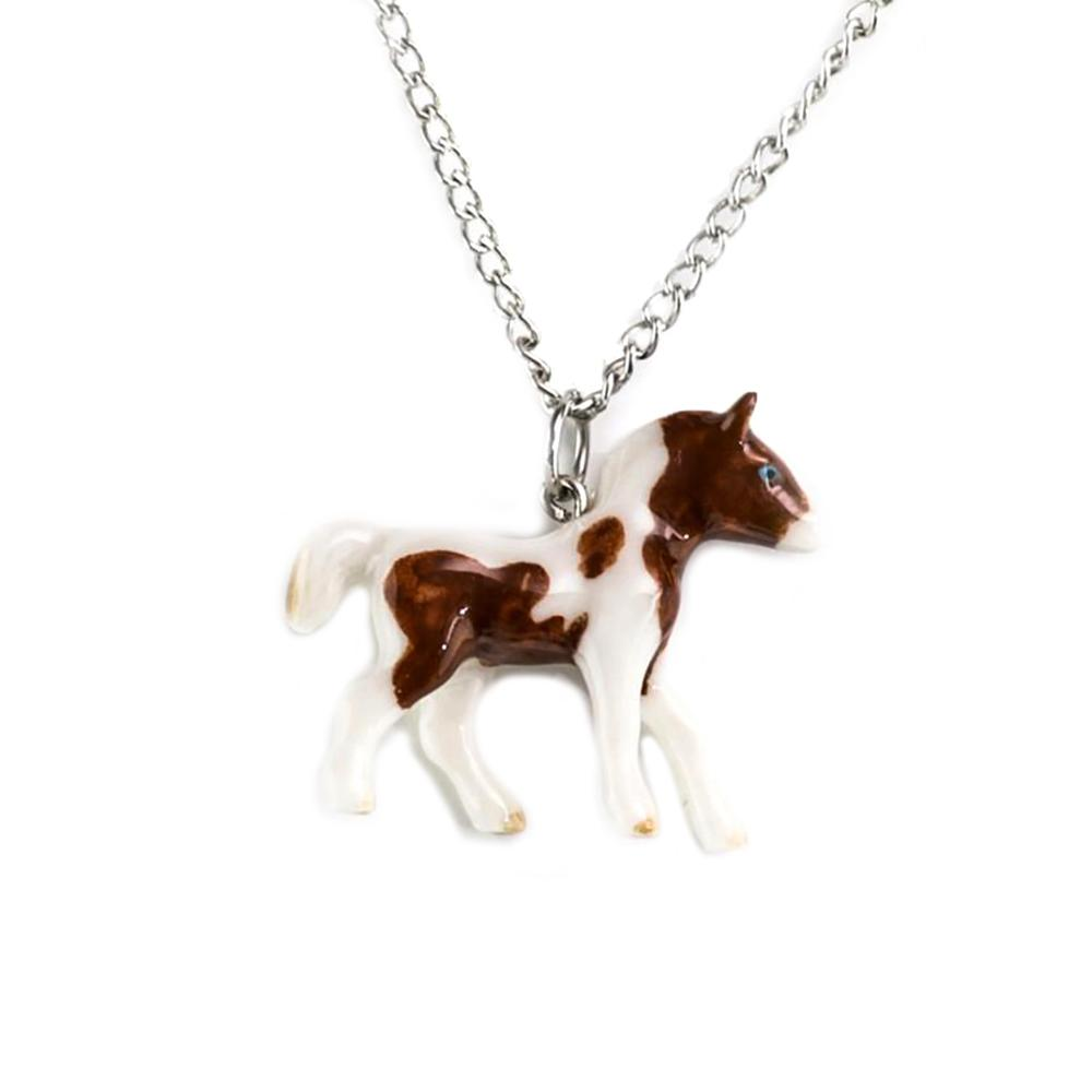 Pinto Pony Pendant - Porcelain Animal FIgurines - Little Critterz Jewelry, Little Critterz