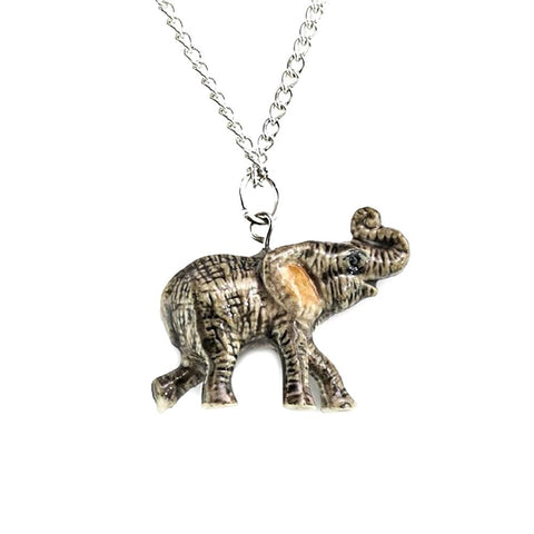 African Elephant Pendant - Porcelain Animal FIgurines - Little Critterz Jewelry, Little Critterz