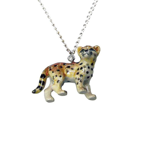 Cheetah Pendant - Porcelain Animal FIgurines - Little Critterz Jewelry, Little Critterz