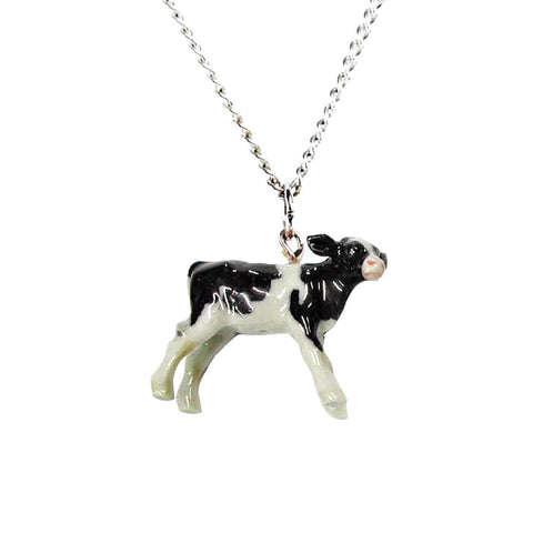 Holstein Cow Pendant - Porcelain Animal FIgurines - Little Critterz Jewelry, Little Critterz