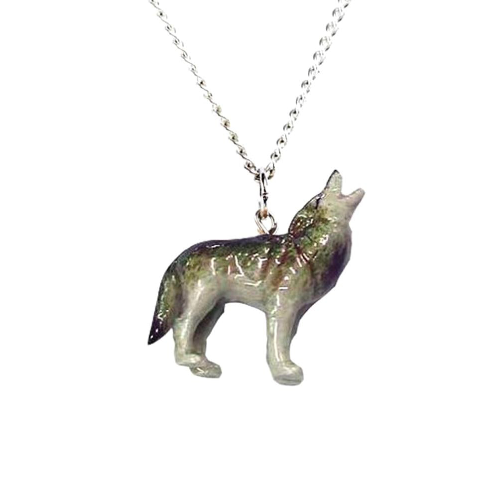 Wolf Howling Pendant - Porcelain Animal FIgurines - Little Critterz Jewelry, Little Critterz