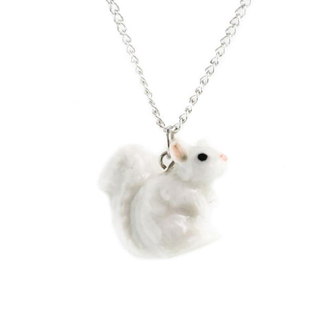 Squirrel - White Squirrel Pendant - Porcelain Animal FIgurines - Little Critterz Jewelry, Little Critterz