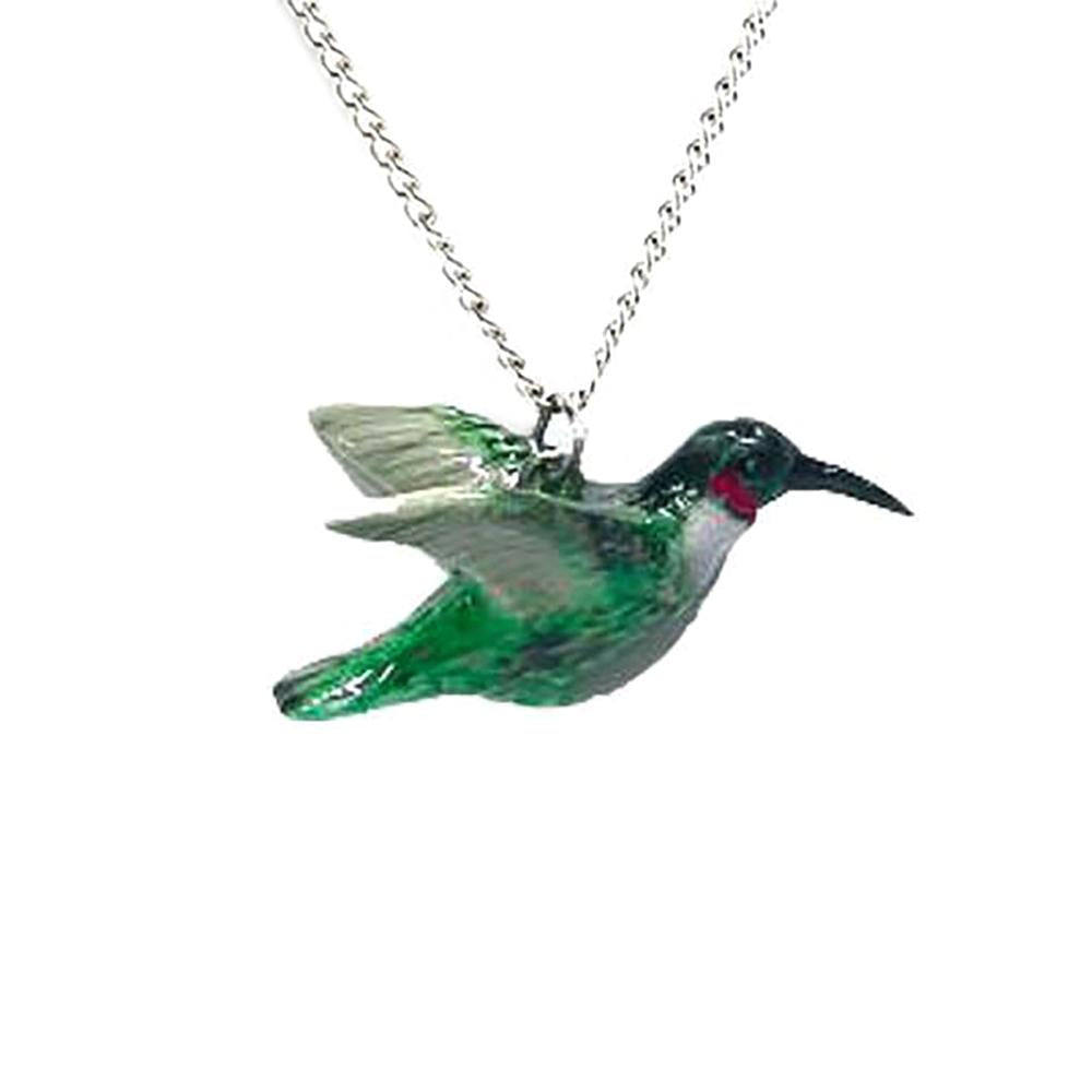 Hummingbird Pendant - Porcelain Animal FIgurines - Little Critterz Jewelry, Little Critterz