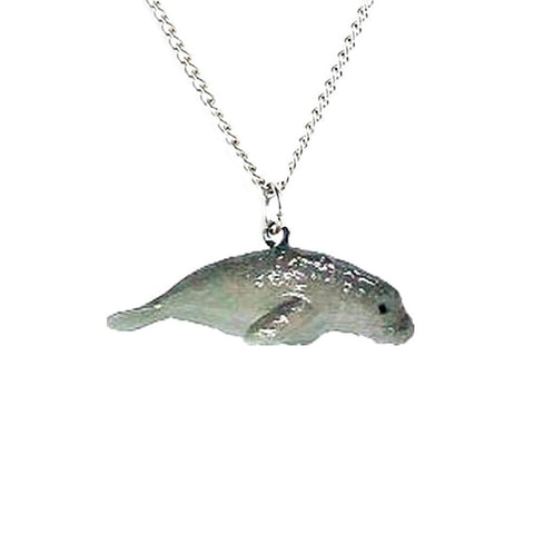 Manatee Pendant - Porcelain Animal FIgurines - Little Critterz Jewelry, Little Critterz