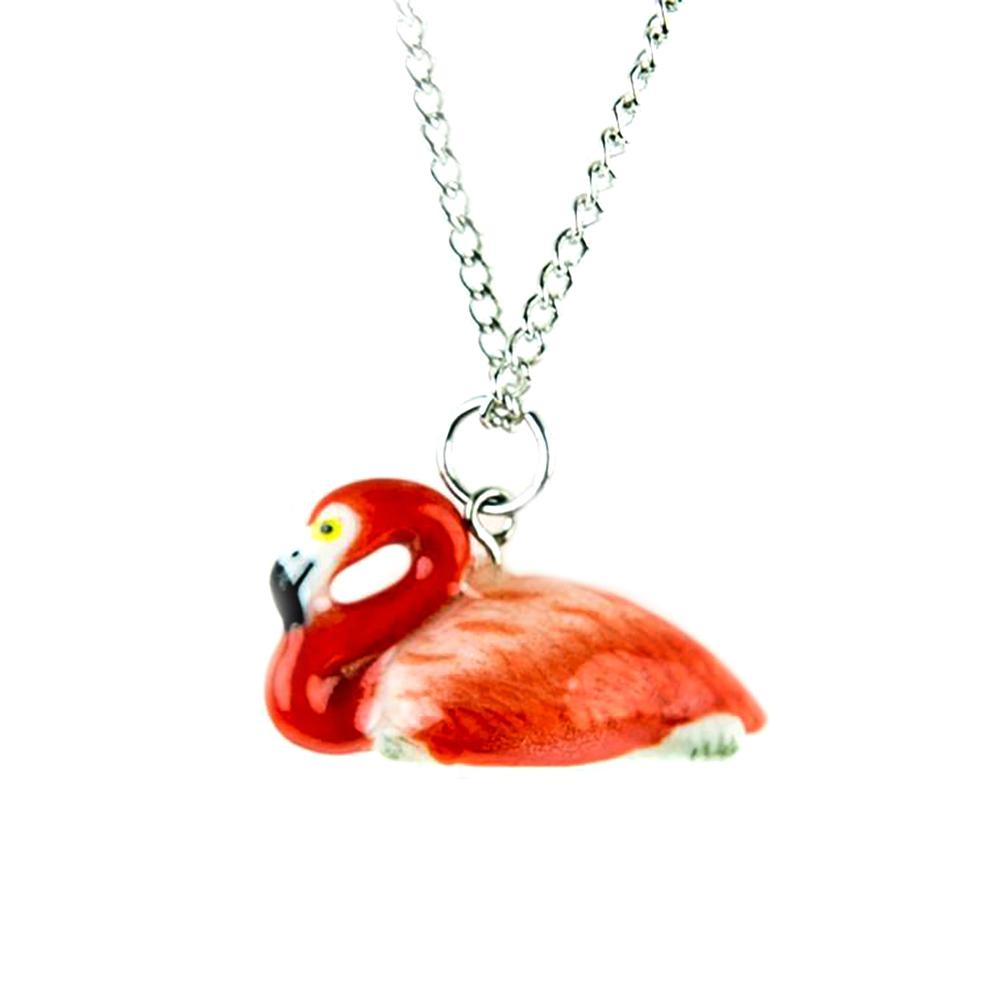 Flamingo Pendant - Porcelain Animal FIgurines - Little Critterz Jewelry, Little Critterz