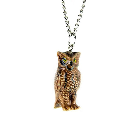 Horned Owl Pendant - Porcelain Animal FIgurines - Little Critterz Jewelry, Little Critterz