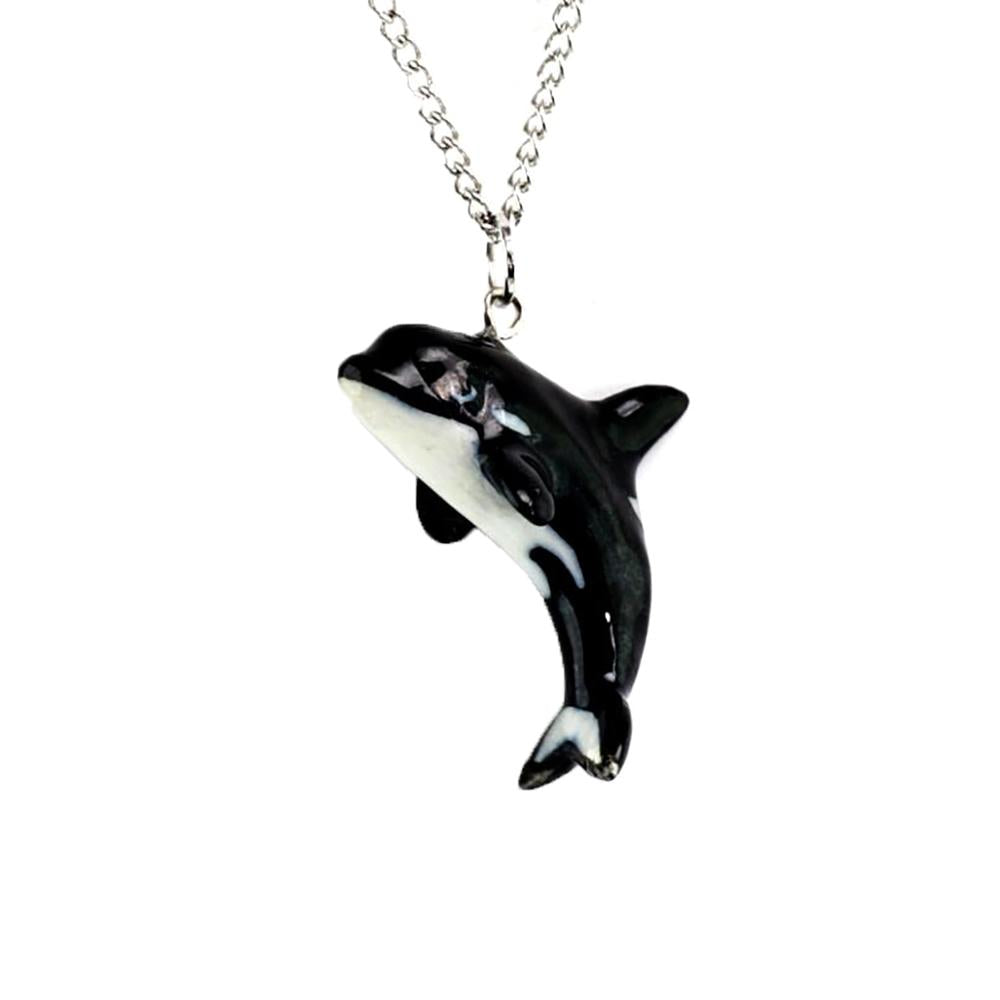 Orca Whale Pendant - Porcelain Animal FIgurines - Little Critterz Jewelry, Little Critterz