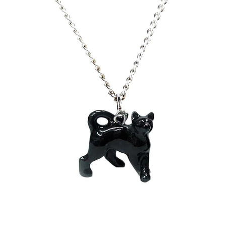 Cat Necklace - Black Cat Pendant with Silver Plated Chain - Porcelain Animal FIgurines - Little Critterz Jewelry, Little Critterz