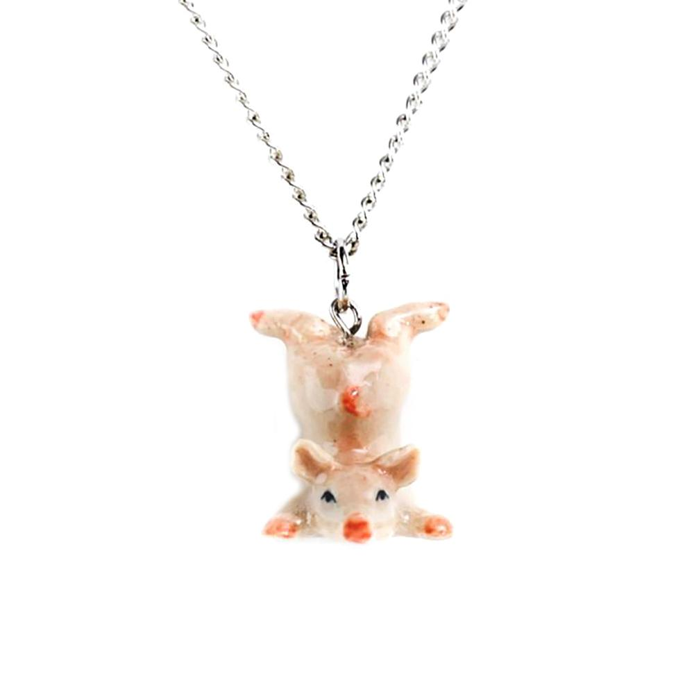 Pink Pig Pendant - Porcelain Animal Figurines - Little Critterz Jewelry
