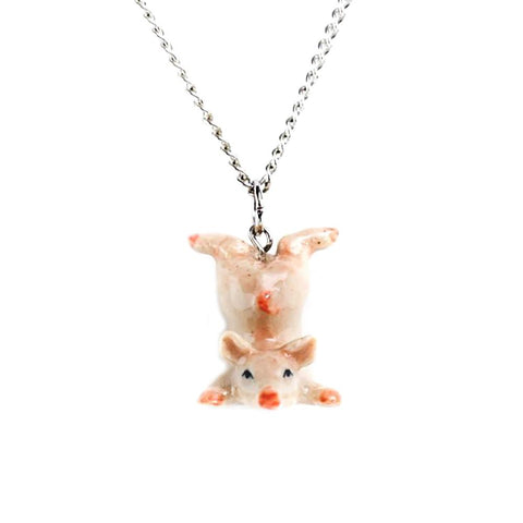 Pink Pig Pendant - Porcelain Animal FIgurines - Little Critterz Jewelry, Little Critterz