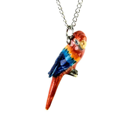 Red Macaw Pendant - Porcelain Animal FIgurines - Little Critterz Jewelry, Little Critterz