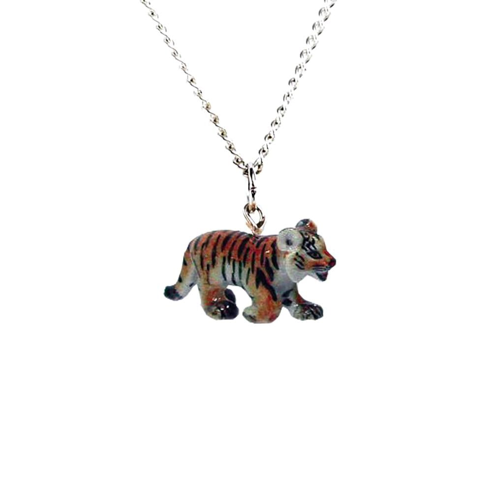 Tiger Pendant - Porcelain Animal FIgurines - Little Critterz Jewelry, Little Critterz