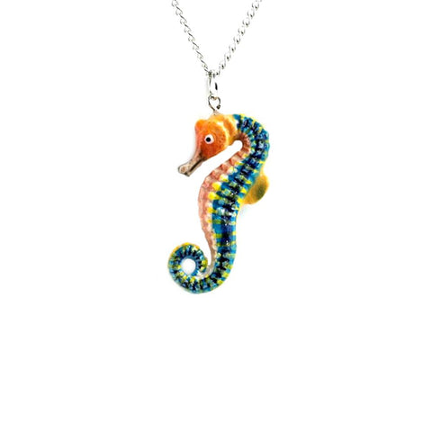 Seahorse Pendant - Porcelain Animal FIgurines - Little Critterz Jewelry, Little Critterz