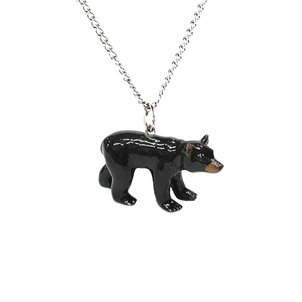 Bear - Black Bear Pendant Porcelain Jewelry