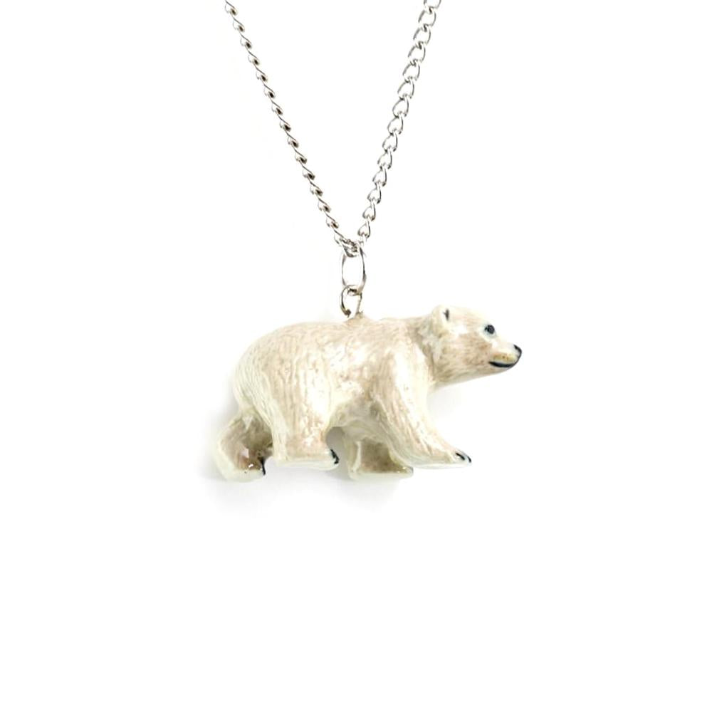 Polar Bear Pendant - Porcelain Animal Figurines - Little Critterz Jewelry