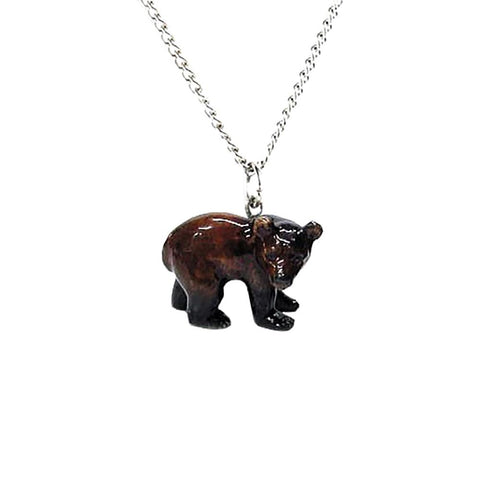 Brown Bear Pendant Porcelain Jewelry