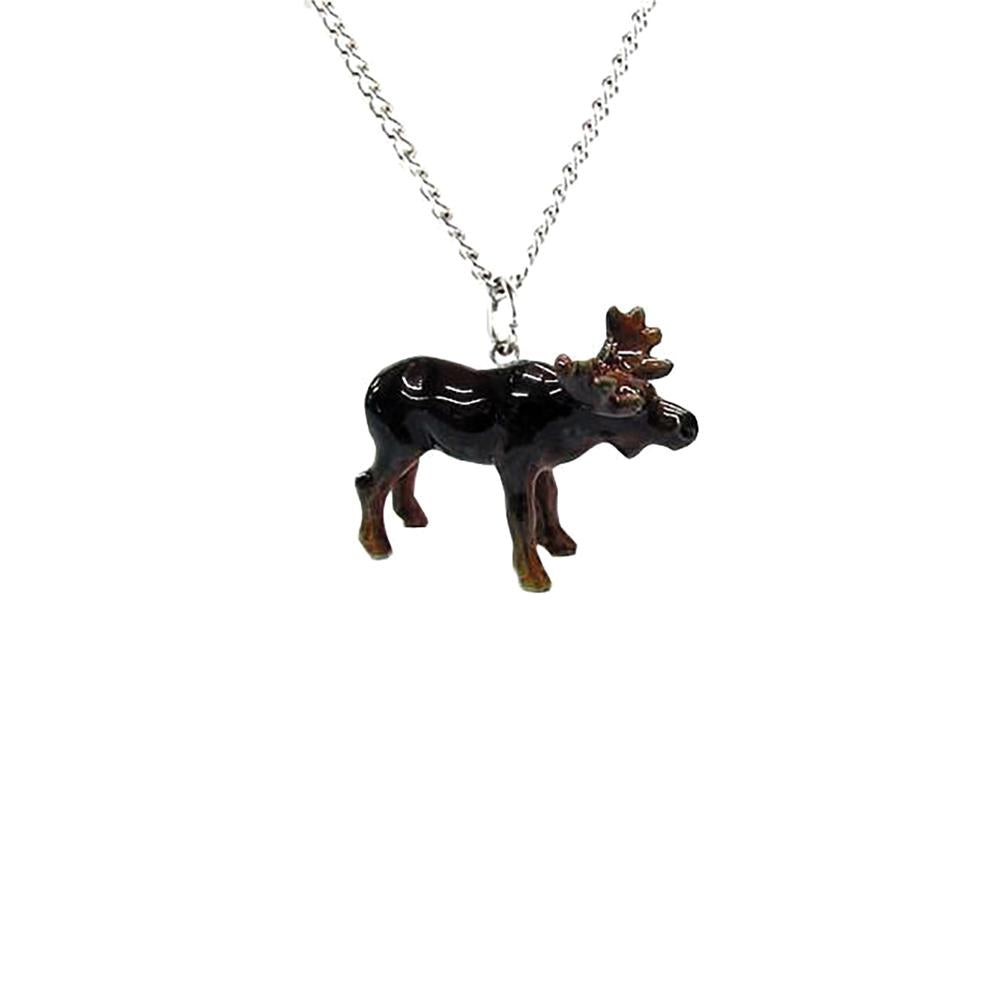 Moose Pendant - Porcelain Animal FIgurines - Little Critterz Jewelry, Little Critterz
