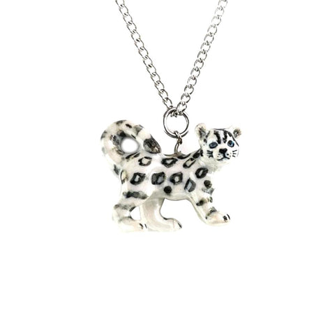 Snow Leopard Pendant - Porcelain Animal Figurines - Little Critterz Jewelry