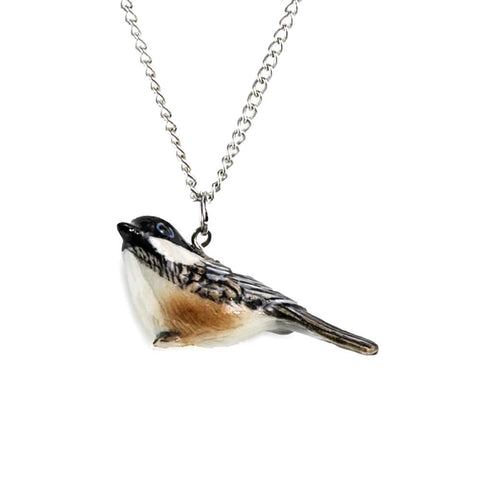 Chickadee Pendant - Porcelain Animal FIgurines - Little Critterz Jewelry, Little Critterz