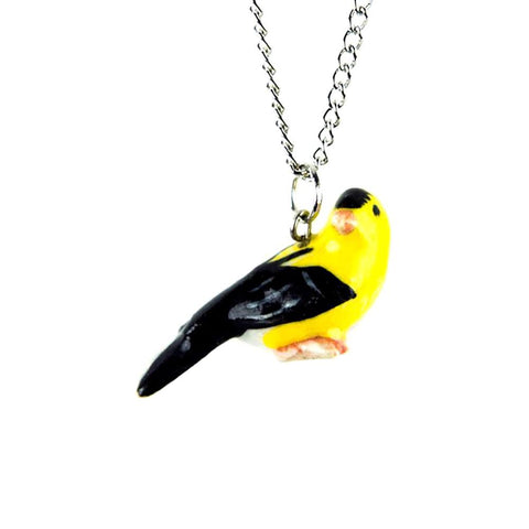 Goldfinch Pendant - Porcelain Animal FIgurines - Little Critterz Jewelry, Little Critterz