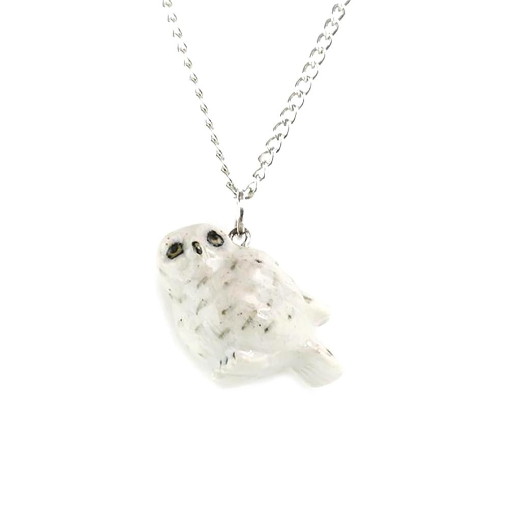 Snowy Owl Pendant - Porcelain Animal FIgurines - Little Critterz Jewelry, Little Critterz