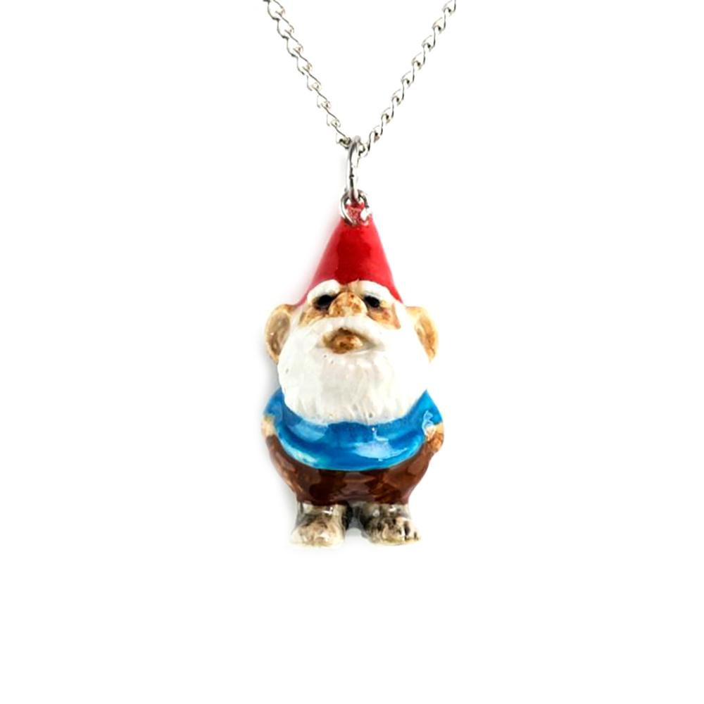 Gnome Pendant - Porcelain Animal FIgurines - Little Critterz Jewelry, Little Critterz