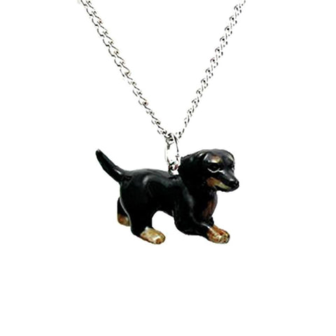 Dog - Dachshund Dog Pendant - Porcelain Animal FIgurines - Little Critterz Jewelry, Little Critterz
