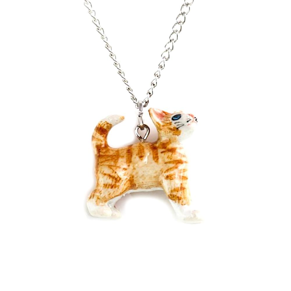 Ginger Kitten Porcelain Necklace - Porcelain Animal FIgurines - Little Critterz Jewelry, Little Critterz