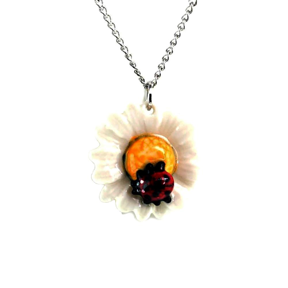 Daisy Ladybug Pendant - Porcelain Animal FIgurines - Little Critterz Jewelry, Little Critterz