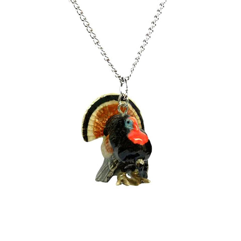 Turkey Pendant - Porcelain Animal FIgurines - Little Critterz Jewelry, Little Critterz