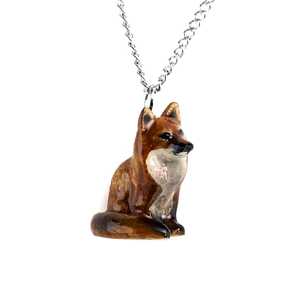 Red Fox Sitting Pendant - Porcelain Animal FIgurines - Little Critterz Jewelry, Little Critterz