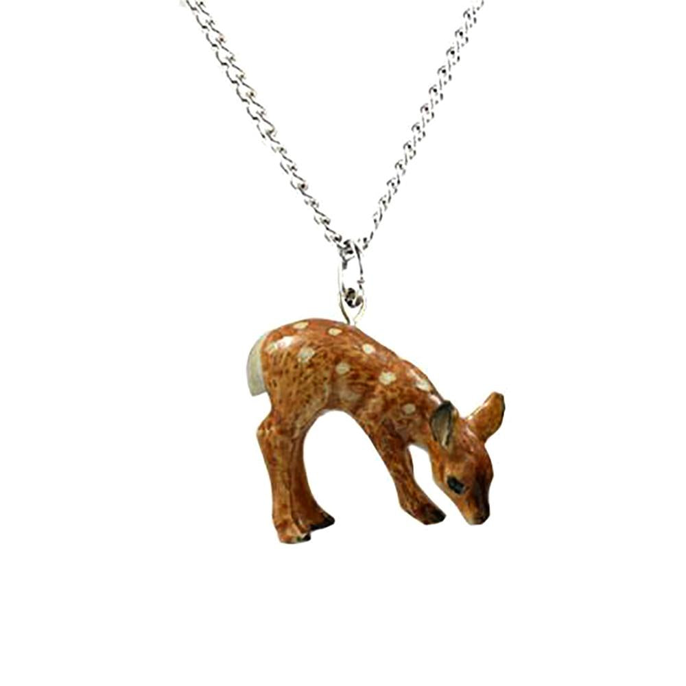 Deer Fawn Pendant - Porcelain Animal FIgurines - Little Critterz Jewelry, Little Critterz