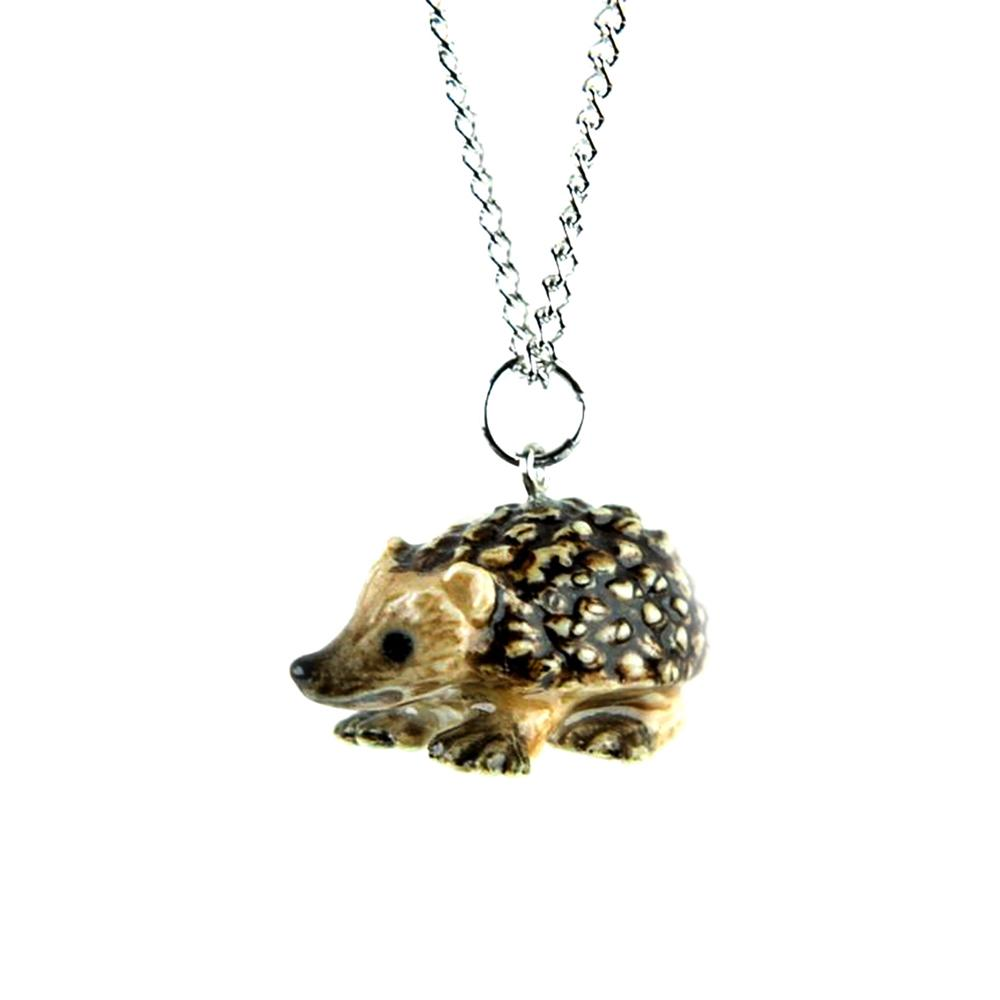 Hedgehog Pendant - Porcelain Animal FIgurines - Little Critterz Jewelry, Little Critterz
