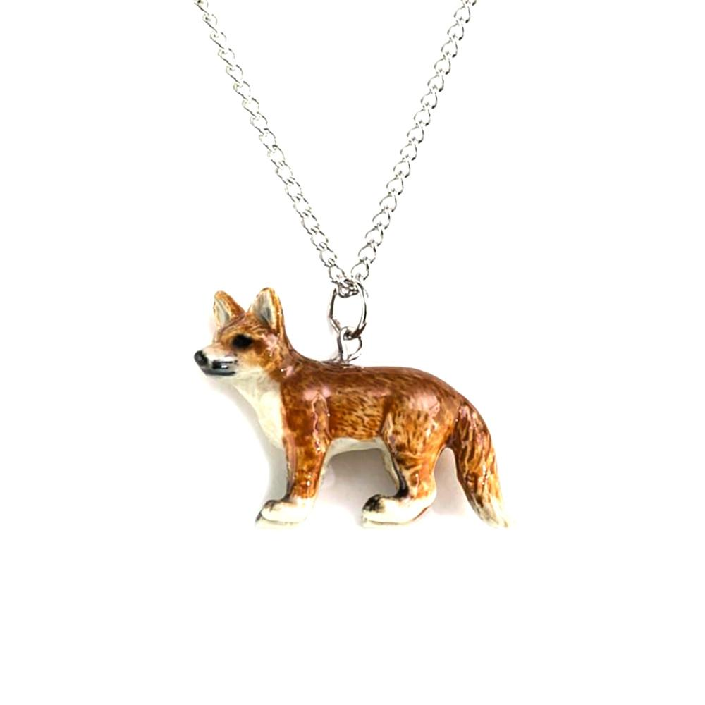 Red Fox Standing Pendant - Porcelain Animal FIgurines - Little Critterz Jewelry, Little Critterz